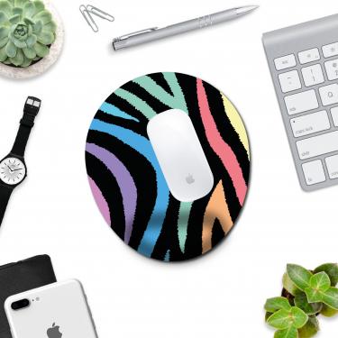 Renkli Zebra - Bilek Destekli Mousepad