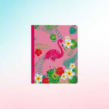 Flamingo Çizgili Defter Kaktüs Desenli