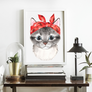 Kitty In Red Scarf