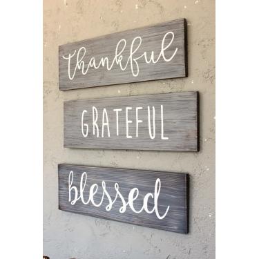 Thankful Grateful Blessed Ağaç Tablo Seti