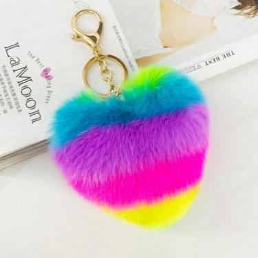 Renkli Kalp Ponpon Anahtarlık