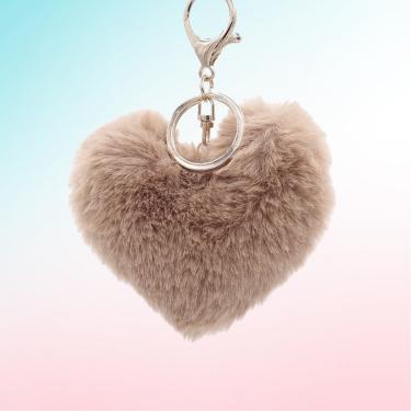 Kahverengi Kalp Peluş Anahtarlık