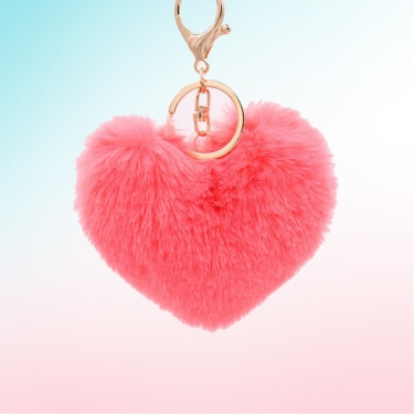 Şeker Pembe Kalp Peluş Anahtarlık